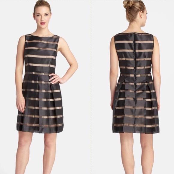 Tahari Dresses | Petite Black And Nude Striped Organza Dress | Poshmark